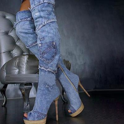 2021 Sexy Denim High-Heel Over The Knee Boots with Peep Toe