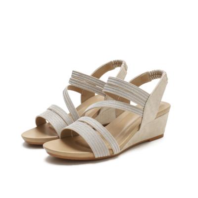 Golden Summer Slip On Round-Toe Wedges Strappy Sandals