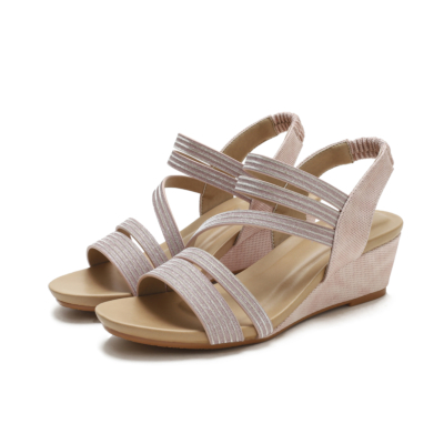 Pink Summer Slip On Round-Toe Wedges Strappy Sandals