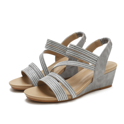 Summer Slip On Round-Toe Wedges Strappy Sandals