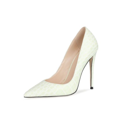 Summer Snake Printed Pumps Heels Pointed Toe Shoes High Heels 4 inches