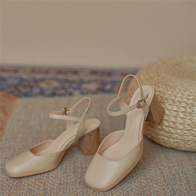 Nude Leather Square Toe Heels Slingbacks Pumps with Wooden Block Heel