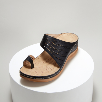 Summer Toe Ring Hollow Out Slide Wedge Sandals