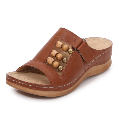 Brown Summer Bead Hollow Out Slide Wedge Sandals