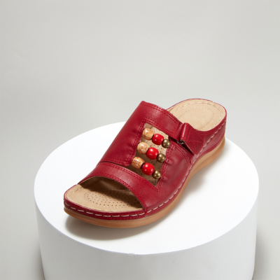Red Summer Bead Hollow Out Slide Wedge Sandals
