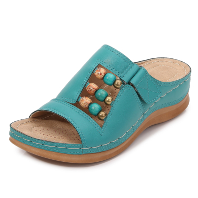 Blue Summer Bead Hollow Out Slide Wedge Sandals
