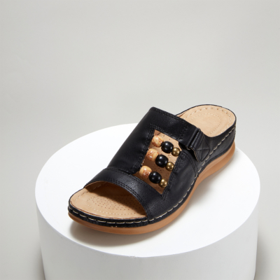 Black Summer Bead Hollow Out Slide Wedge Sandals
