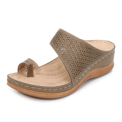 Brown Summer Toe Ring Hollow Out Slide Wedge Sandals