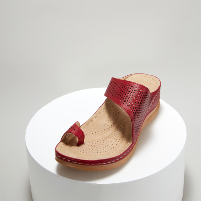 Red Summer Toe Ring Hollow Out Slide Wedge Sandals