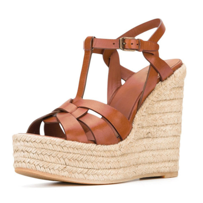 Brown Summer Woven Straw T-Strap Wedge Sandals with Buckle Slingbacks