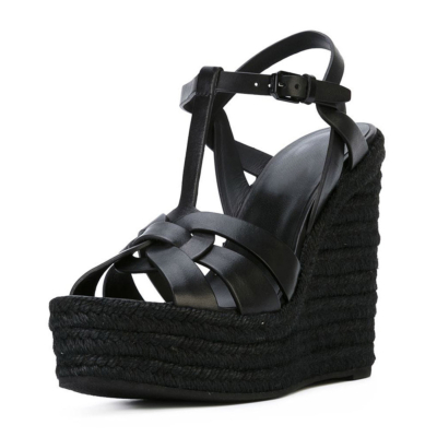 Black Summer Woven Straw T-Strap Wedge Sandals with Buckle Slingbacks