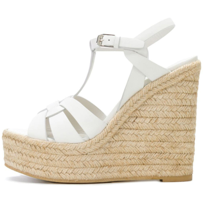 White Summer Woven Straw T-Strap Wedge Sandals with Buckle Slingbacks
