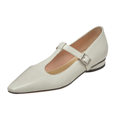 T-Strap Mary Janes Flat Plain Dresses Shoes with Buckle
