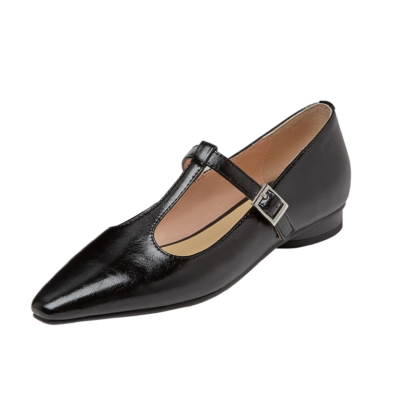 Black T-Strap Mary Janes Flat Plain Dresses Shoes with Buckle