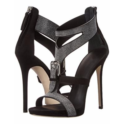 Black T-Strap Rhinestones Sandals Stiletto High Heel Buckle Zip Shoes