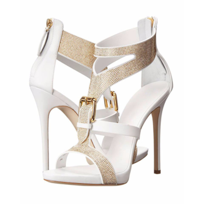 T-Strap Rhinestones Sandals Stiletto High Heel Buckle Zip Shoes