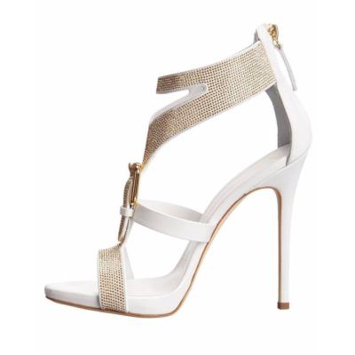 T-Strap Rhinestones Sandals Stiletto High Heel Buckle Zip Shoes