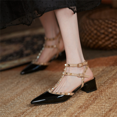 Black T-Strap Studded Pointed Toe Sandals Shoes Chunky Heel Pumps