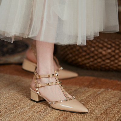 T-Strap Studded Pointed Toe Sandals Shoes Chunky Heel Pumps