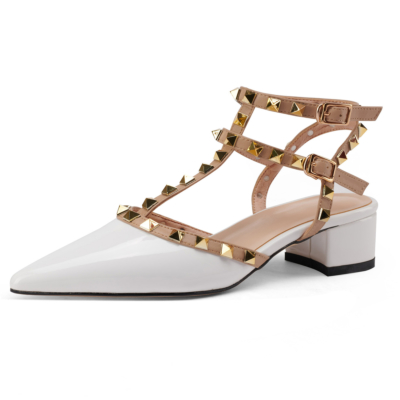 White T-Strap Studded Pointed Toe Sandals Shoes Chunky Heel Pumps