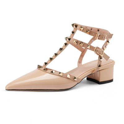 Nude T-Strap Studded Pointed Toe Sandals Shoes Chunky Heel Pumps