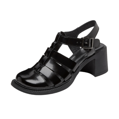 Black T Strap Leather Round Toe Sandals Chunky Heels Strappy Shoes