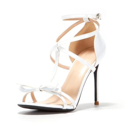 White T strap Sandals Heels Ankle Strap Wedding Shoes With Bow