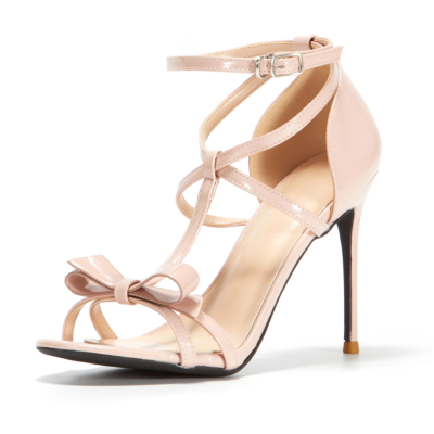 Nude T strap Sandals Heels Ankle Strap Wedding Shoes With Bow
