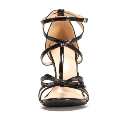 T strap Sandals Heels Ankle Strap Wedding Shoes With Bow