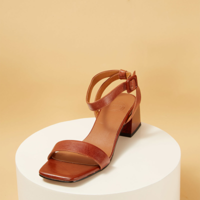 Tan Leather Square Toe Ankle Strap Heeled Sandals