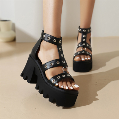 Goth Studded Chunky Platform Heel Gladitor Shoes PU T-Strap Sandals in Black