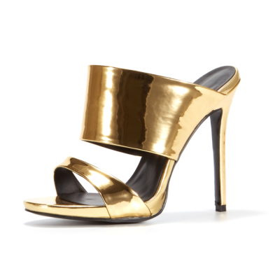 Gold Open Toe Mules Stiletto Heels Sandals for 2021 Summer