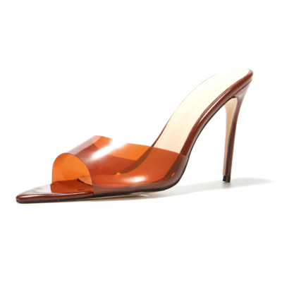 Chocolate Brown PVC Jelly Stiletto Heel 5 inch Sandals Pointed Toe Clear Heeled Slides
