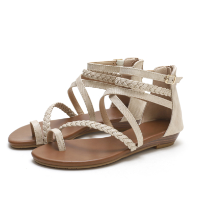 Beige Multi-Strap Buckle Wedge Gladiator Sandals with Back Ziper