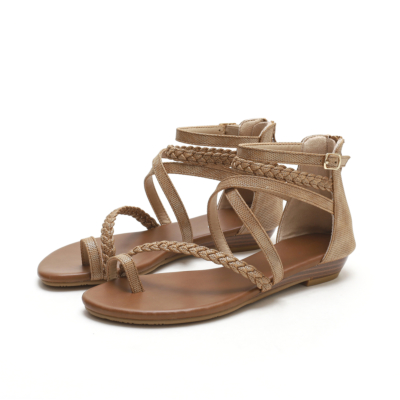 Toe-ring Multi-Strap Buckle Wedge Gladiator Sandals with Back Ziper
