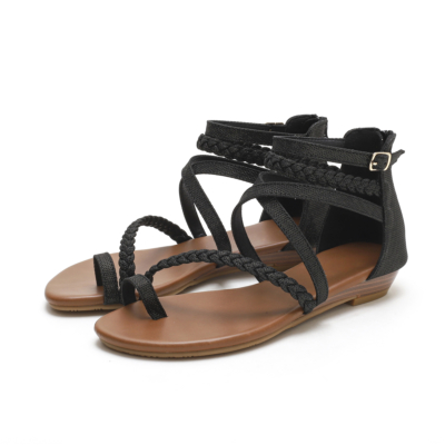 Black Toe-ring Multi-Strap Buckle Wedge Gladiator Sandals with Back Ziper