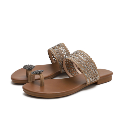 Brown Boho Toe Ring Crystals Hollow Out Slide Flats Gladiator Sandals