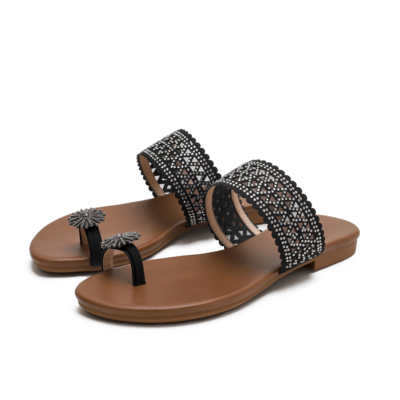 Boho Toe Ring Crystals Hollow Out Slide Flats Gladiator Sandals
