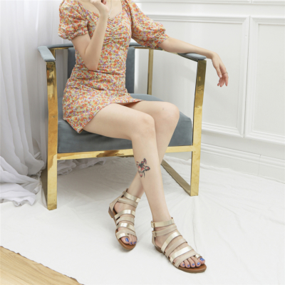 Gold Toe Ring Metal Multi-Strap Low Heel Back Zip Gladiator Sandals