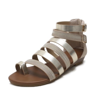 Toe Ring Metal Multi-Strap Low Heel Back Zip Gladiator Sandals