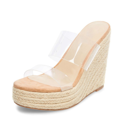 Transaparent Slides PVC Mules Sandals with Woven Straw Wedge Heels