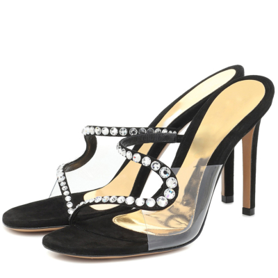 Transparent Mule High Heels PVC Bride Silde Sandals with Rhinestones