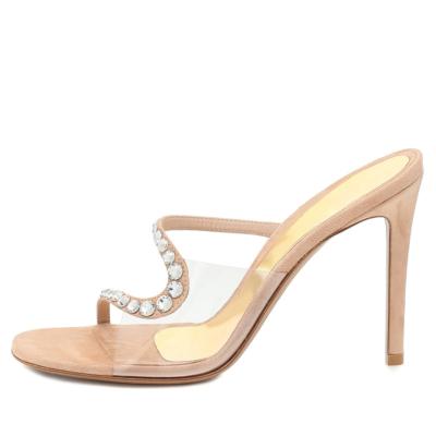 Nude Transparent Mule High Heels PVC Bride Silde Sandals with Rhinestones