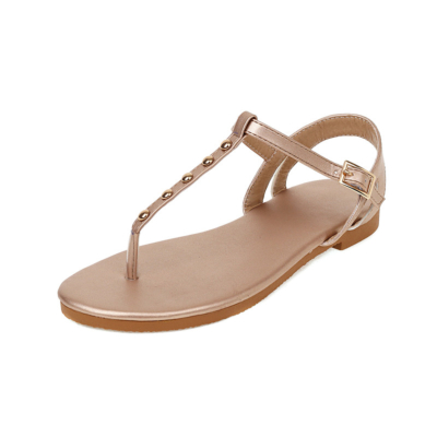 Rose Gold Flip Flap Flats Studded Ankle Strap Thong Sandals For Outgoing