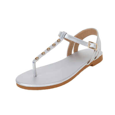 Silver Flip Flap Flats Studded Ankle Strap Thong Sandals For Outgoing
