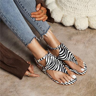 Zebra Print Flip Flap Sandals Ankle Strap Rivet Slingback Flats