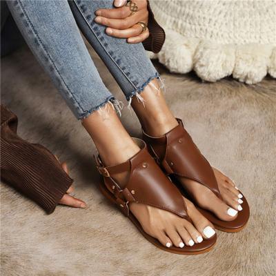 Brown Plain Flip Flap Sandals Ankle Strap Rivet Slingback Flats