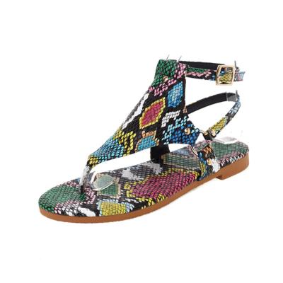 Python Print Flip Flap Sandals Ankle Strap Rivet Slingback Flats