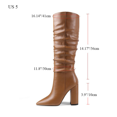 Trendy Chunky Heel Womens Slouchy Boots Knee High Boots