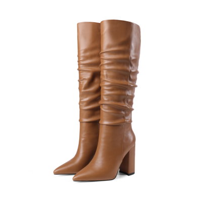 Brown Chunky Heel Womens Slouchy Boots Knee High Boots